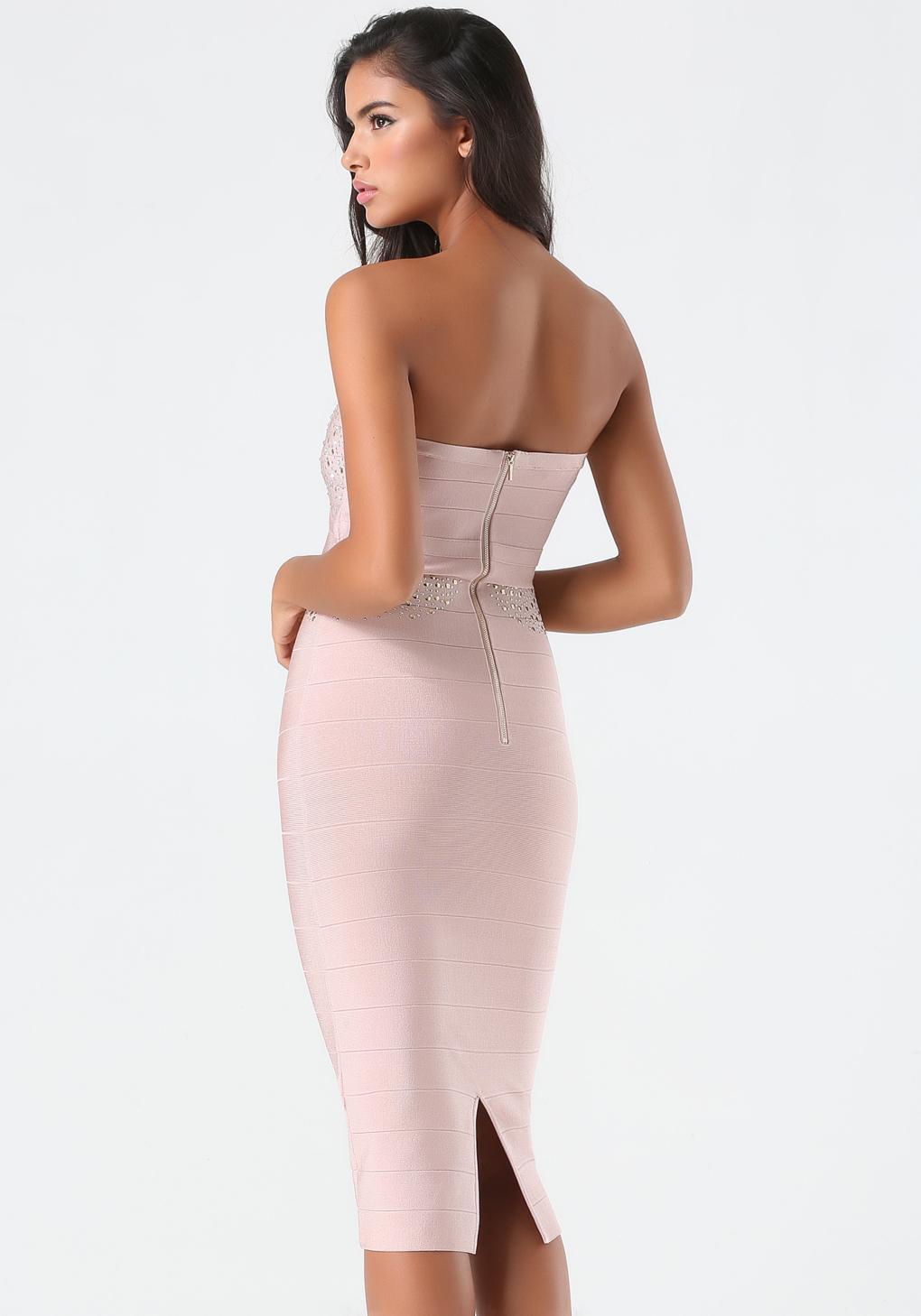 Pink midi strapless dress