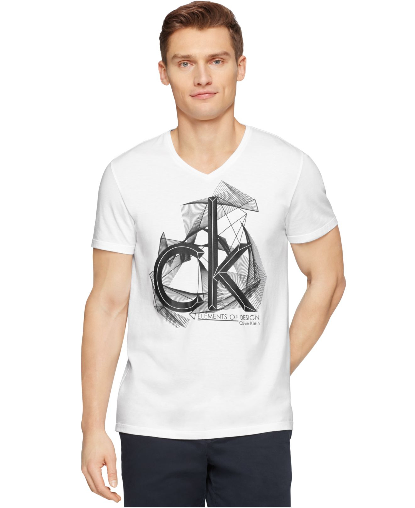 lyst calvin klein ck one logo graphic slim fit t shirt in white for men. Black Bedroom Furniture Sets. Home Design Ideas