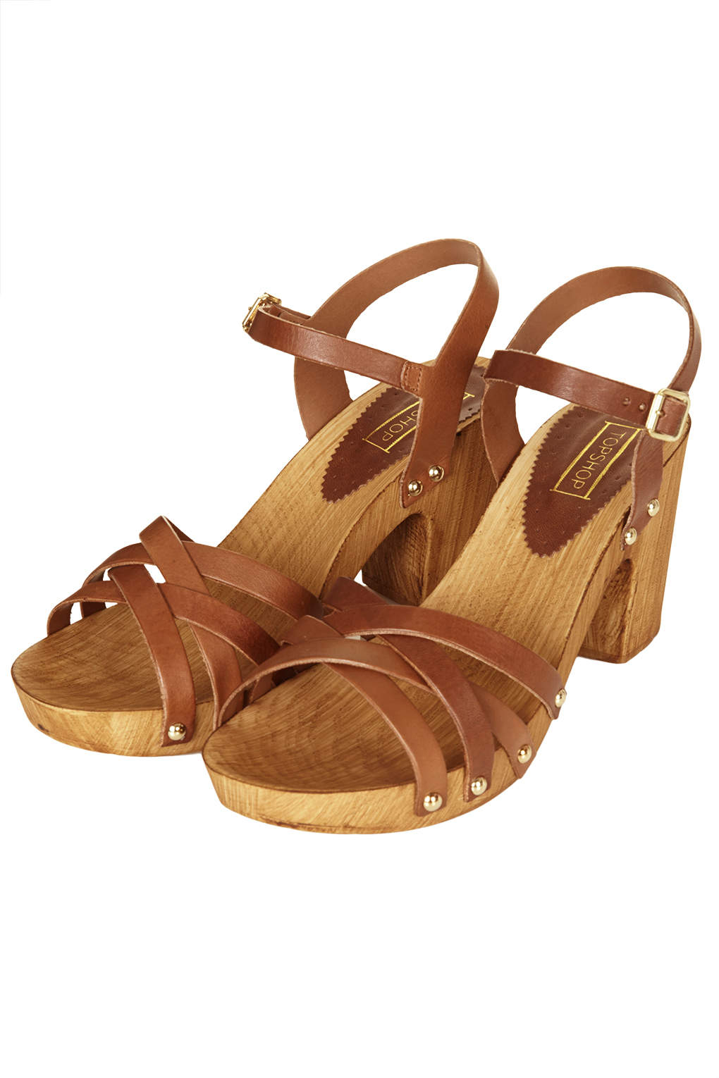 0c04b8b6c5a4 Lyst - TOPSHOP Nancy Chunky Wooden Sandals in Brown