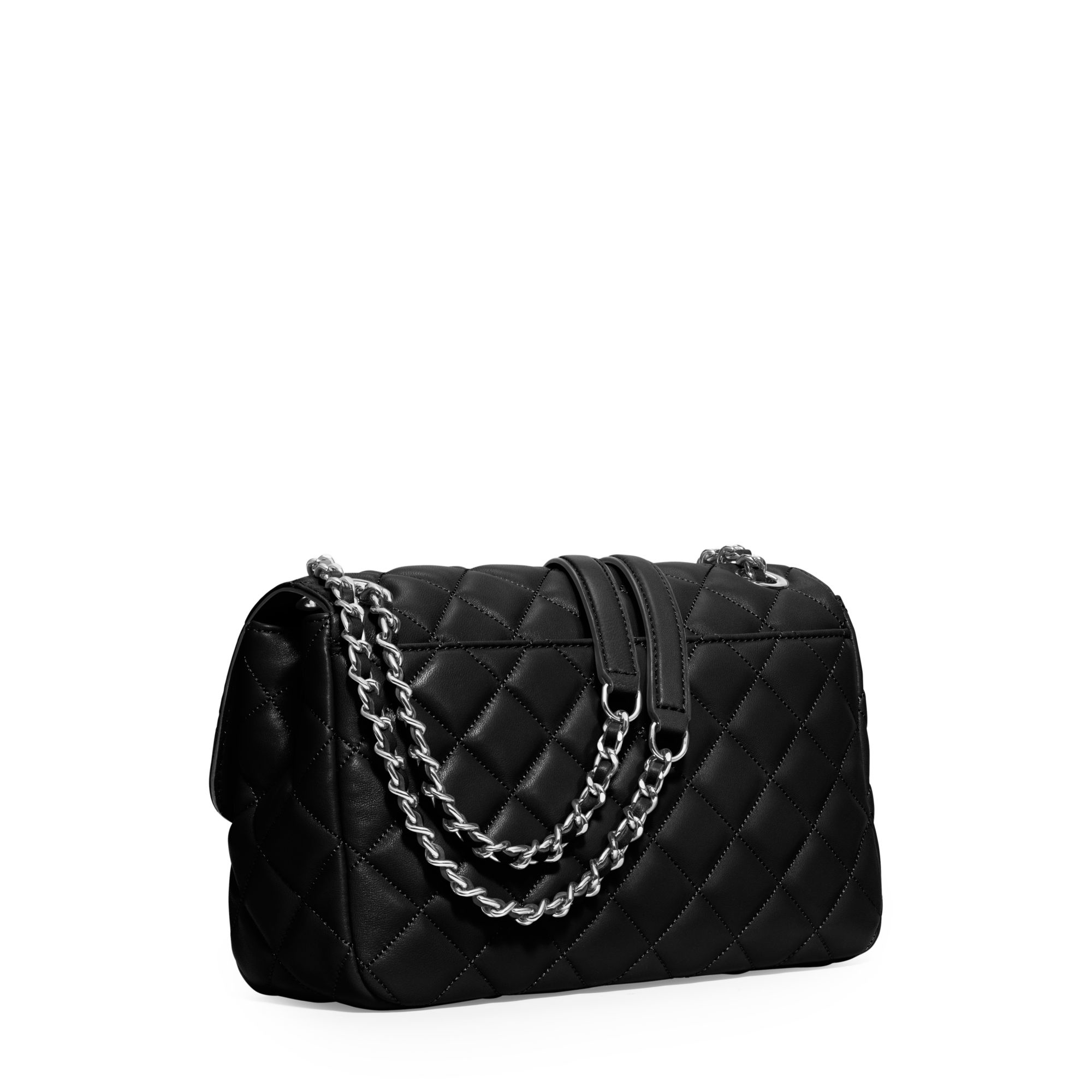 Michael kors Sloan Large Quilted-Leather Shoulder Bag in Black | Lyst