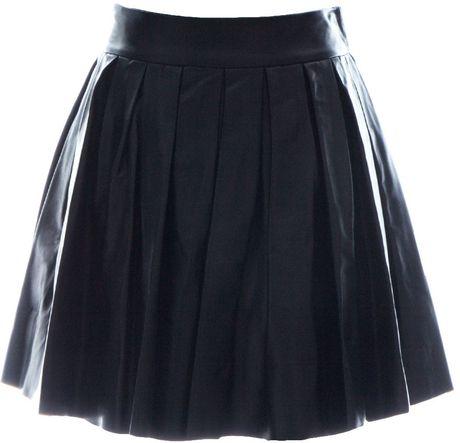 box pleat leather mini skirt in black lyst