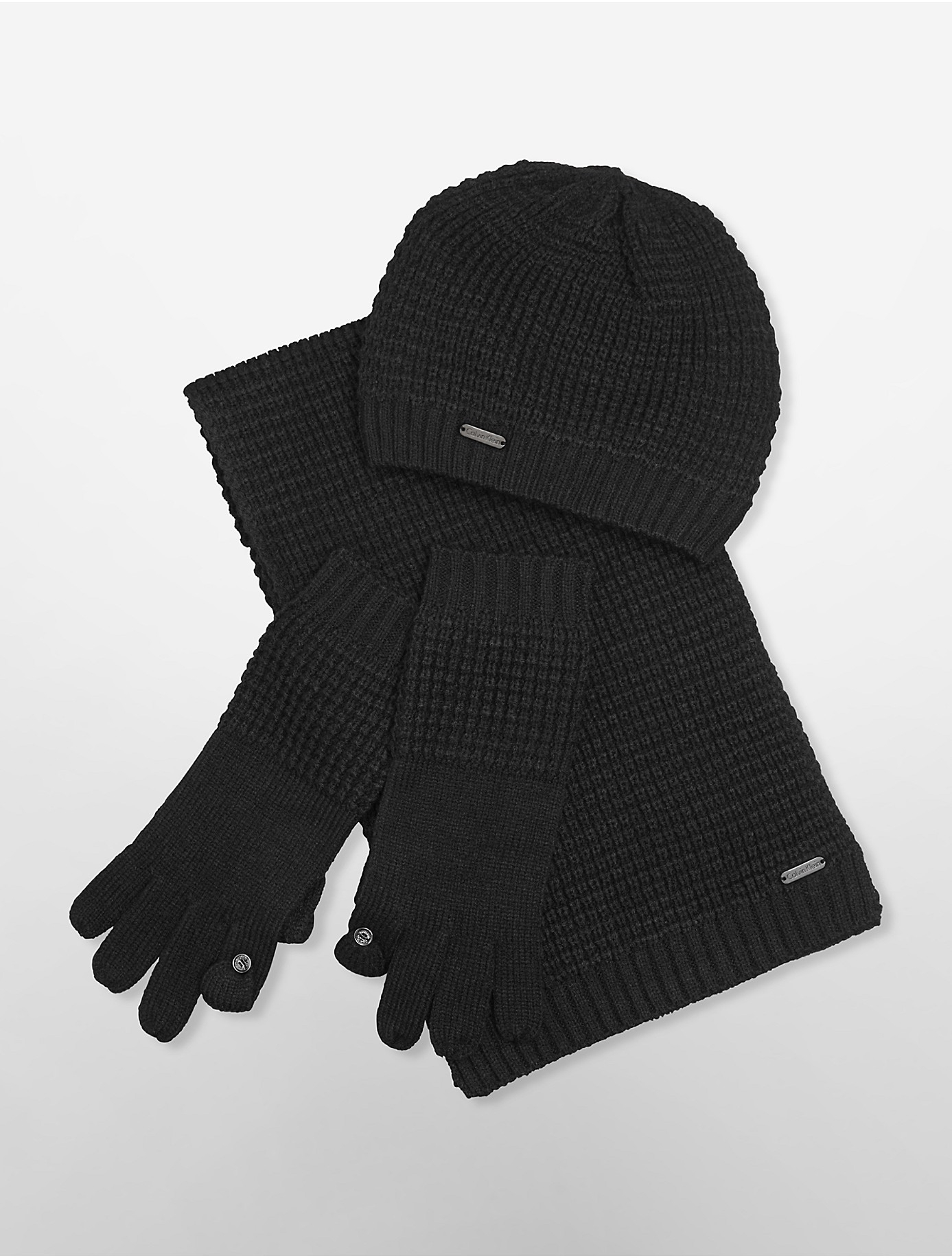 Knitting Pattern For Hat Scarf And Gloves : Calvin klein Waffle Knit Hat Gloves Scarf Set in Black Lyst