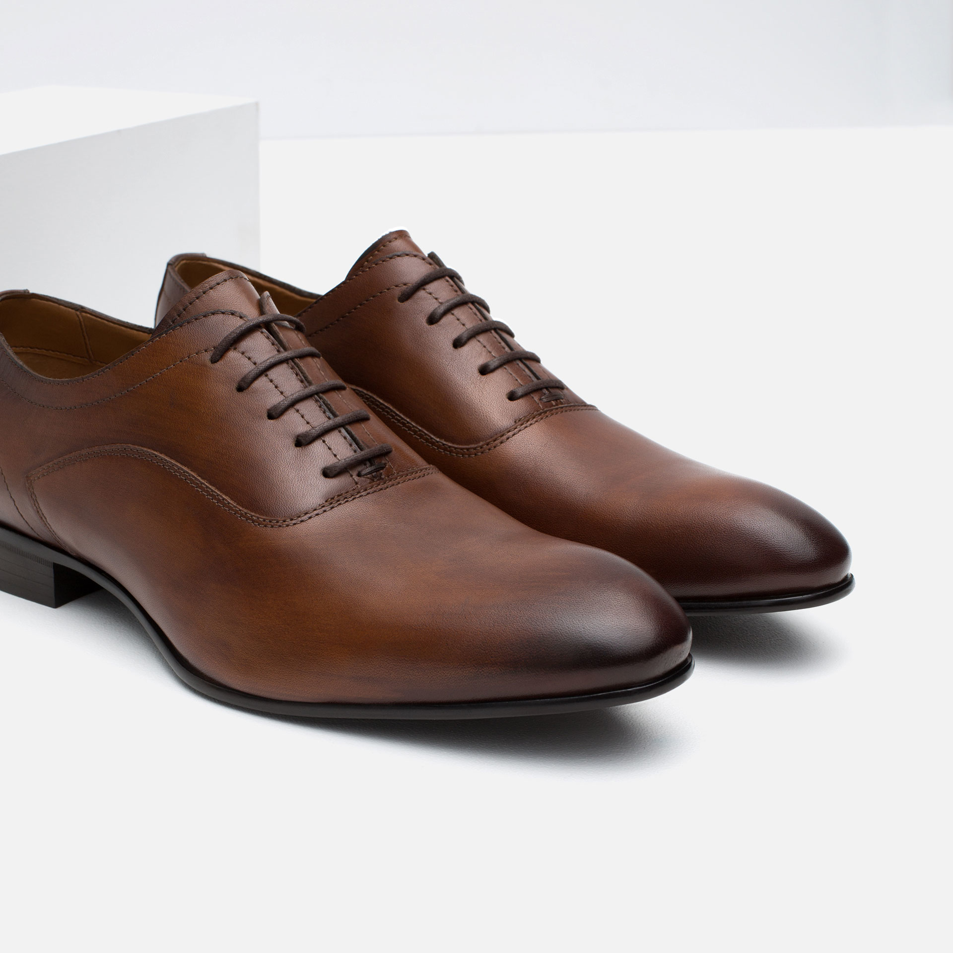 Zara Classic Leather Oxford Shoes In Brown For Men Lyst