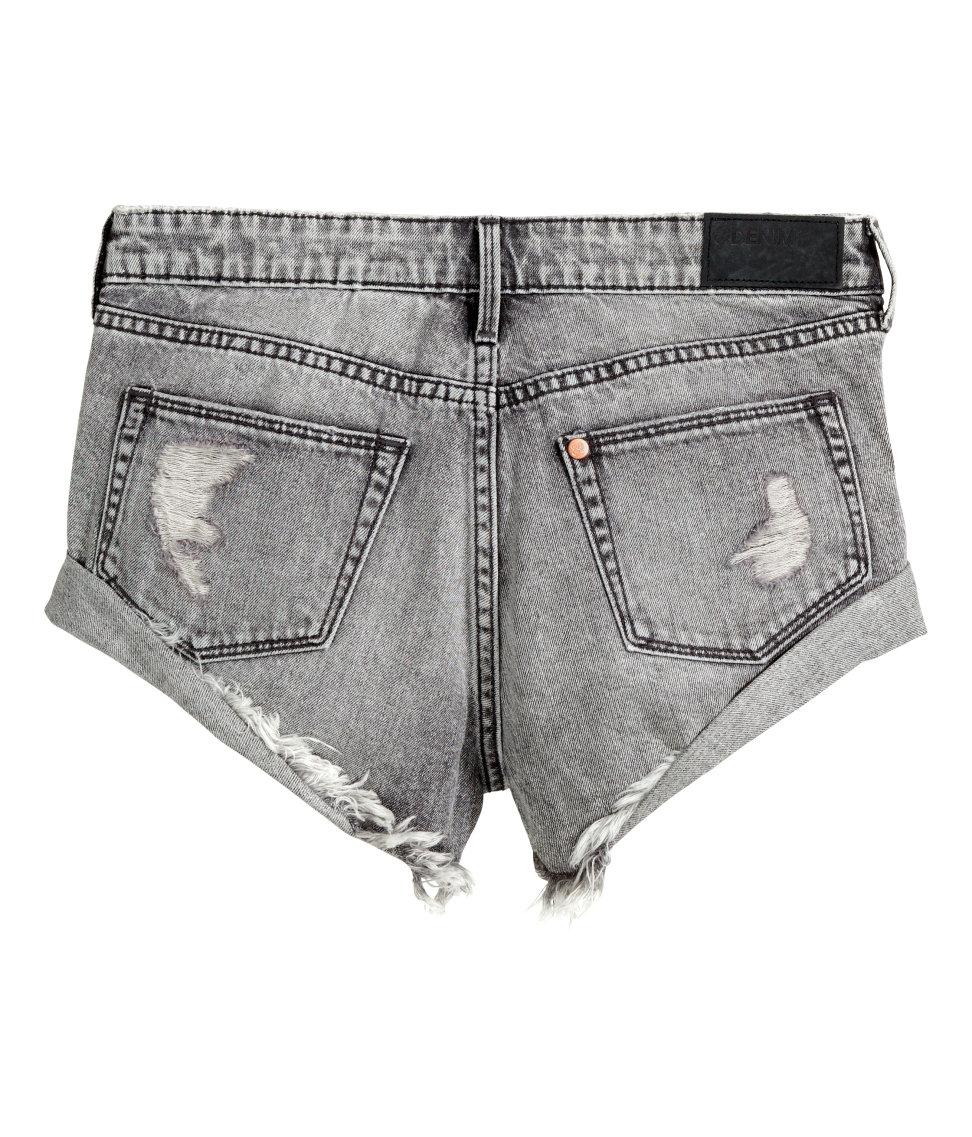 H&m Denim Shorts in Gray | Lyst
