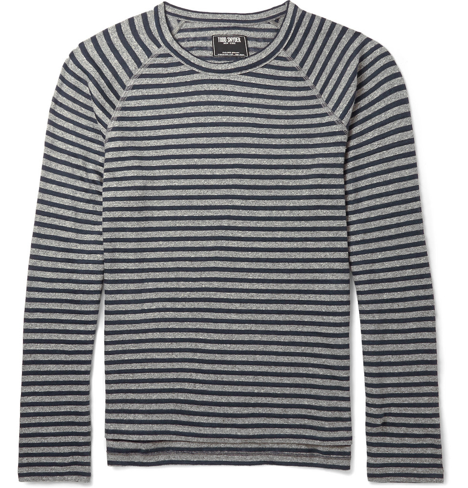 Lyst todd snyder striped cotton and linen blend t shirt Grey striped t shirt