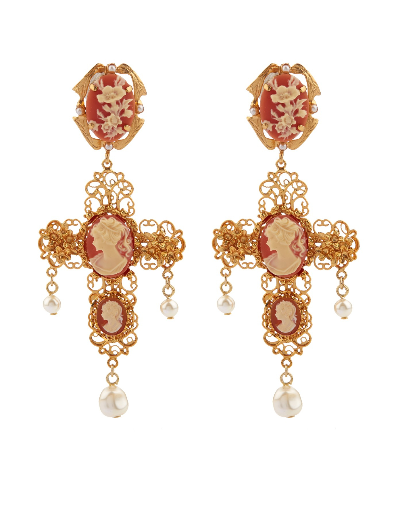 Dolce & Gabbana Heart and crystal-embellished clip-on earrings pla6T