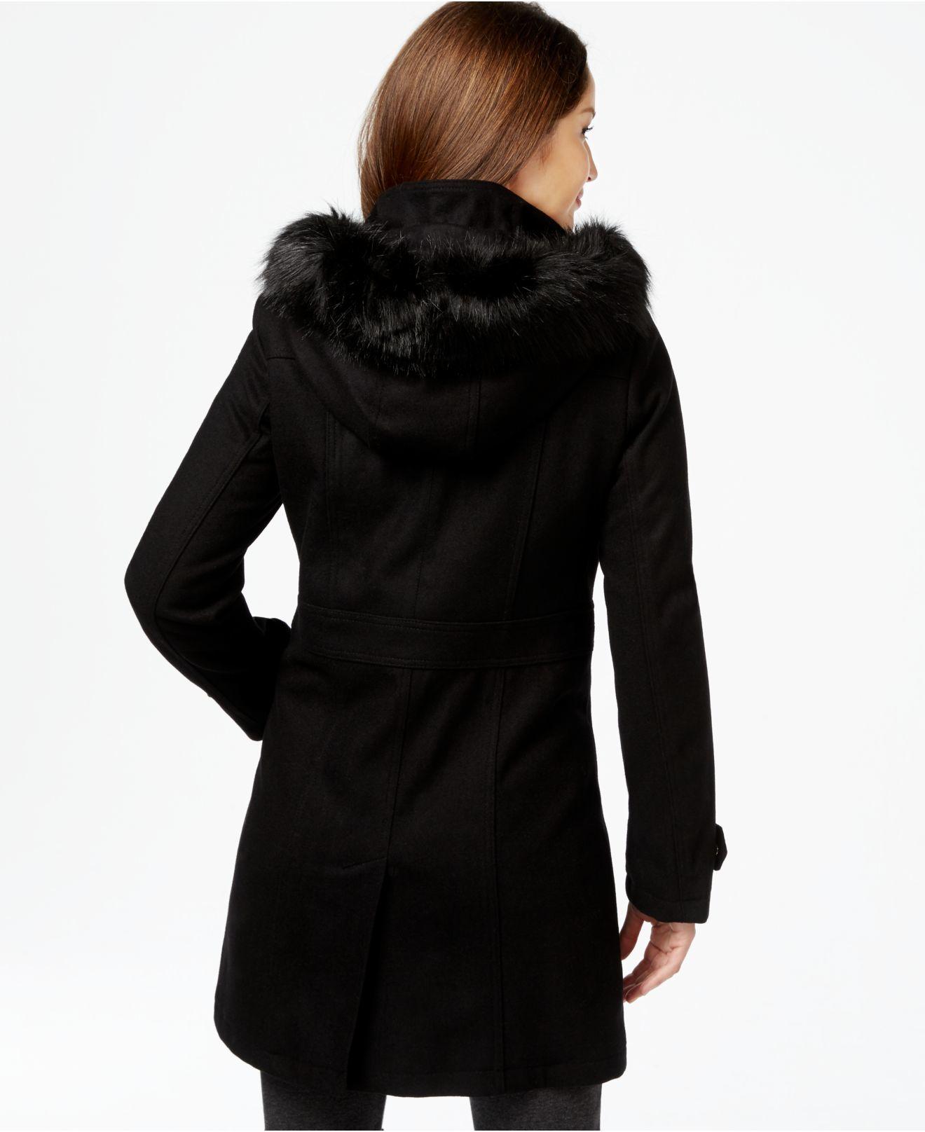 Lyst Ivanka Trump Faux Fur Hood Walker Coat In Black