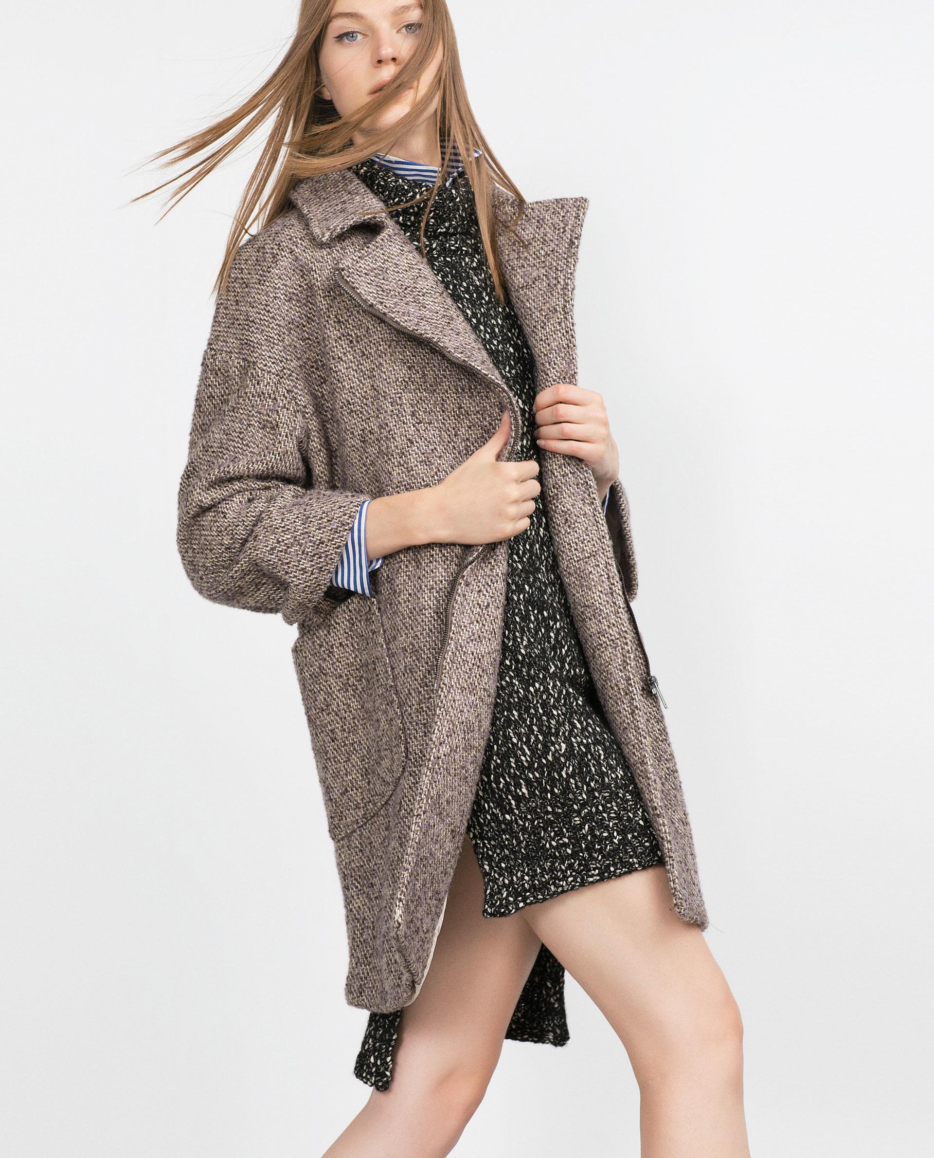 Zara Wool Coat With Zips