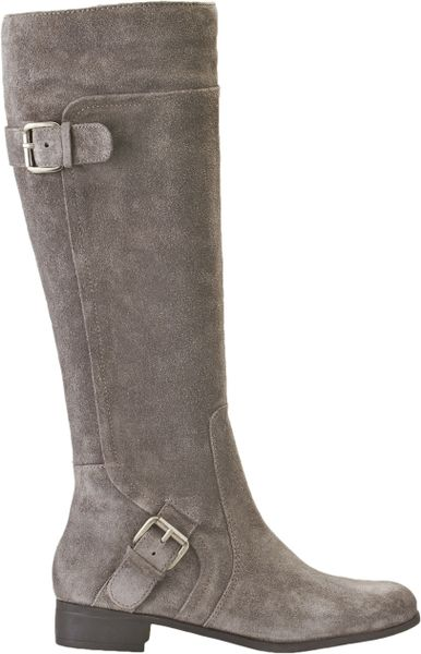 nine west sookie boots in gray grey suede lyst