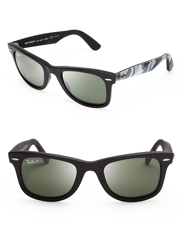 06ae18630d Lyst - Ray-Ban Polarized Camo Fabric Wayfarer Sunglasses in Black ...