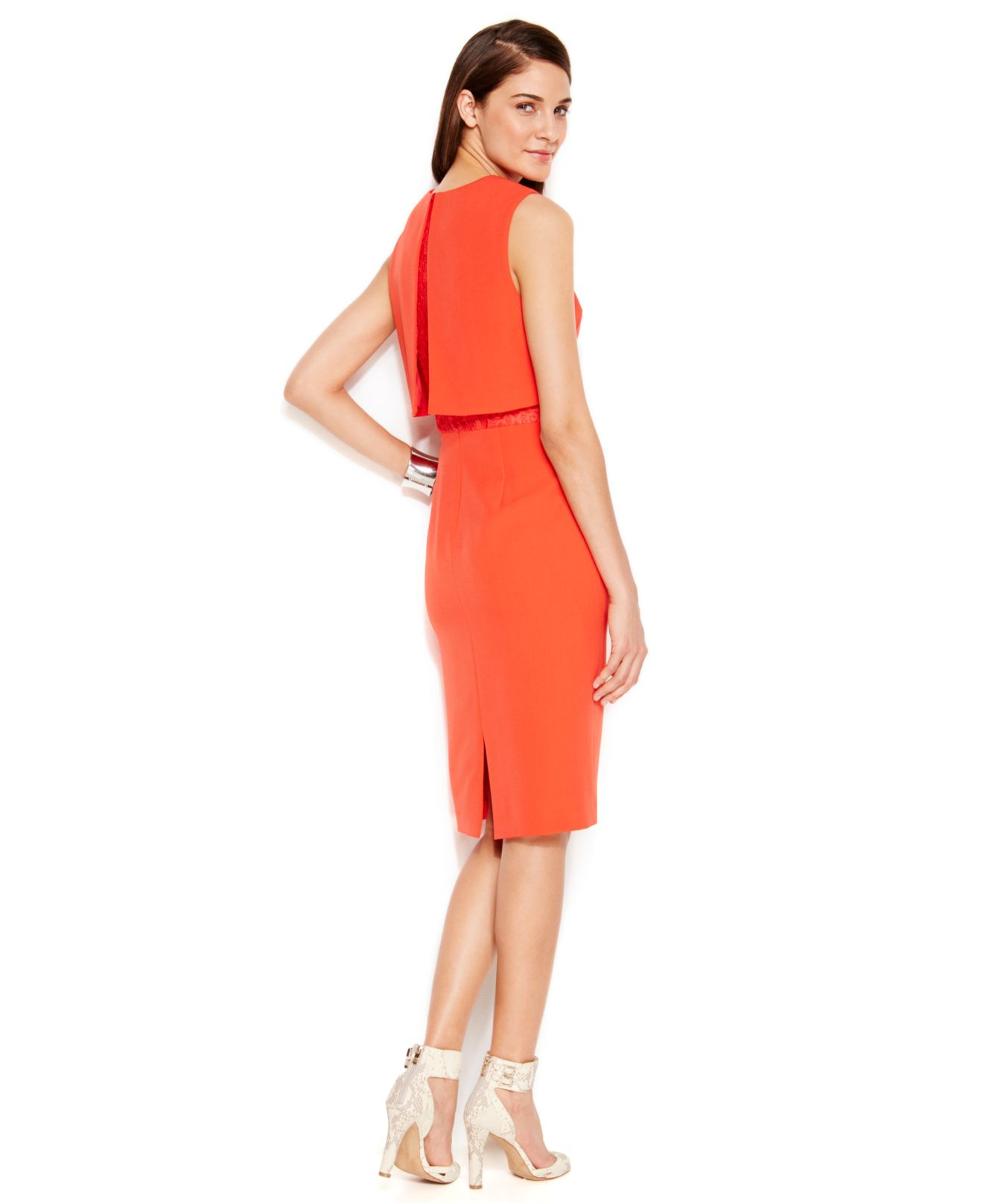Lyst Vince Camuto Popover Lace Detail Sheath Dress In Red