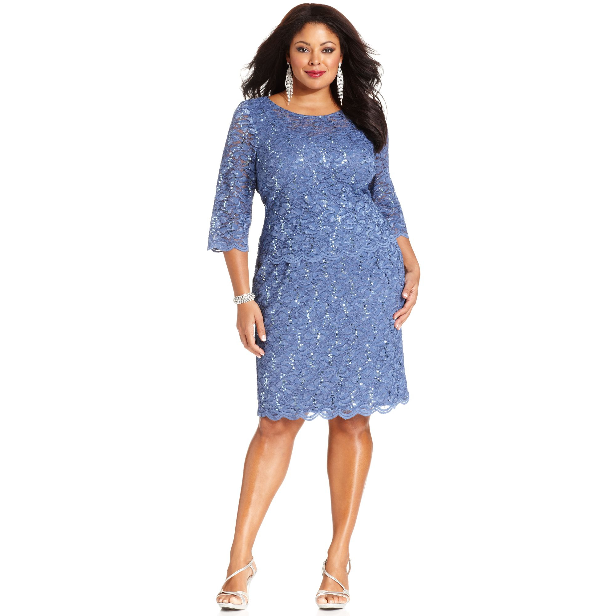 alex evenings plus size sequined lace dress in blue | lyst