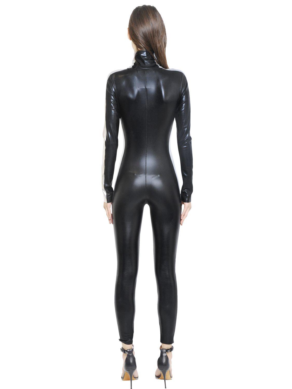 Lyst Norma Kamali Zip Up Stretch Turtleneck Cat Suit In Black
