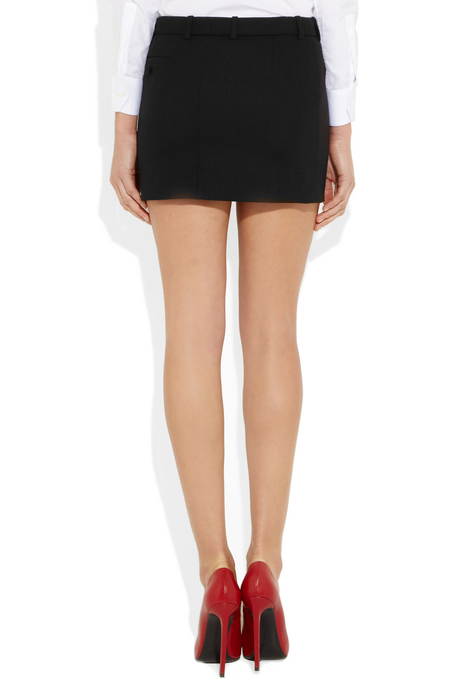 Saint laurent Wool Mini Skirt in Black | Lyst