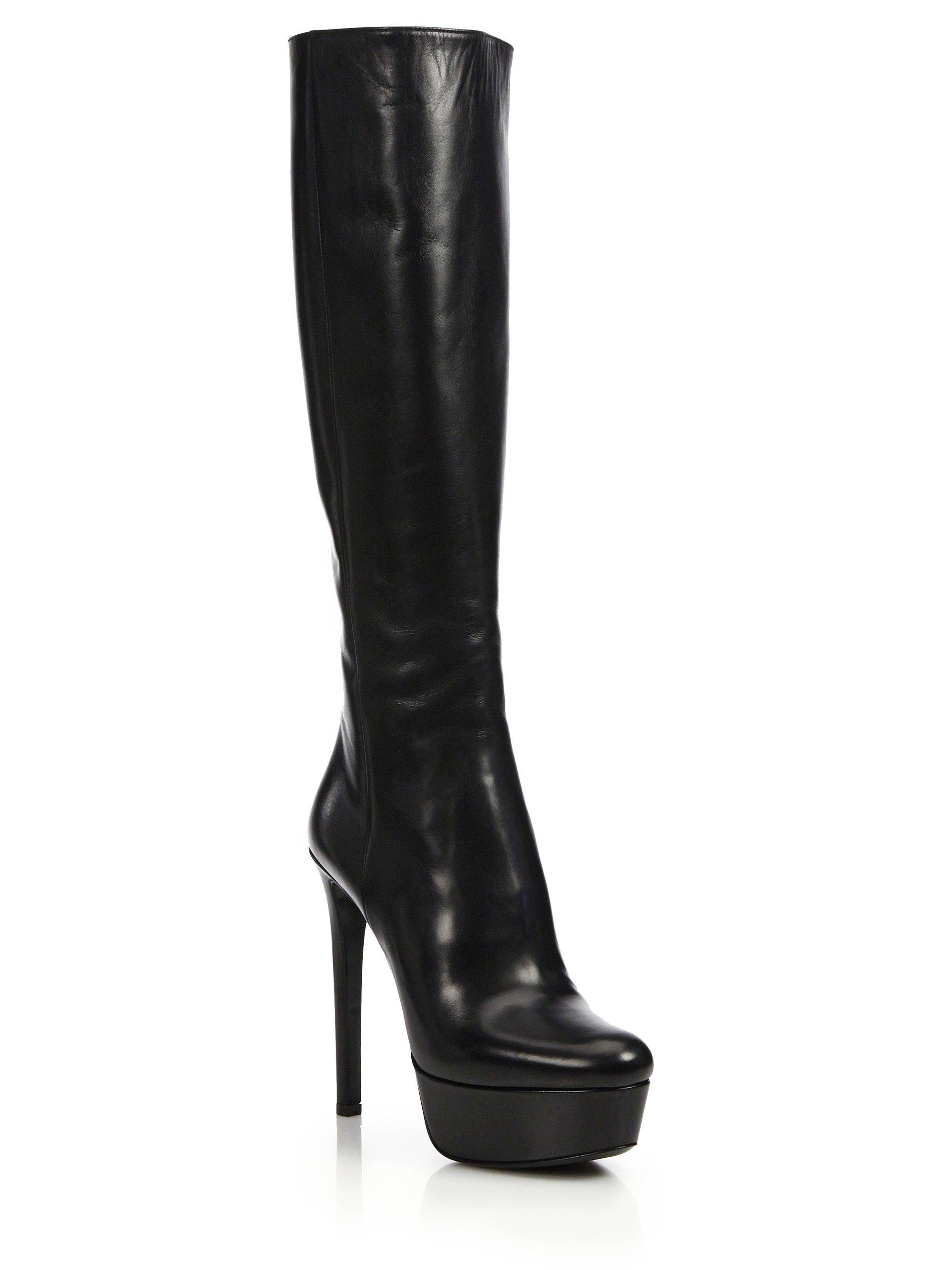 Prada Leather Knee-high Platform Boots in Black | Lyst