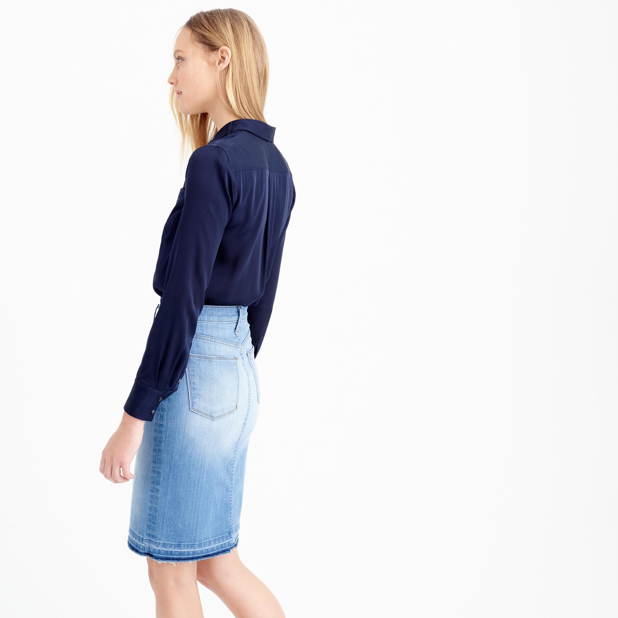 j crew frayed denim pencil skirt in blue lyst