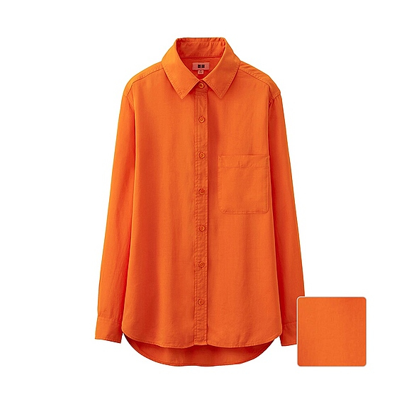 Uniqlo Silk Touch Long Sleeve Blouse In Orange Lyst