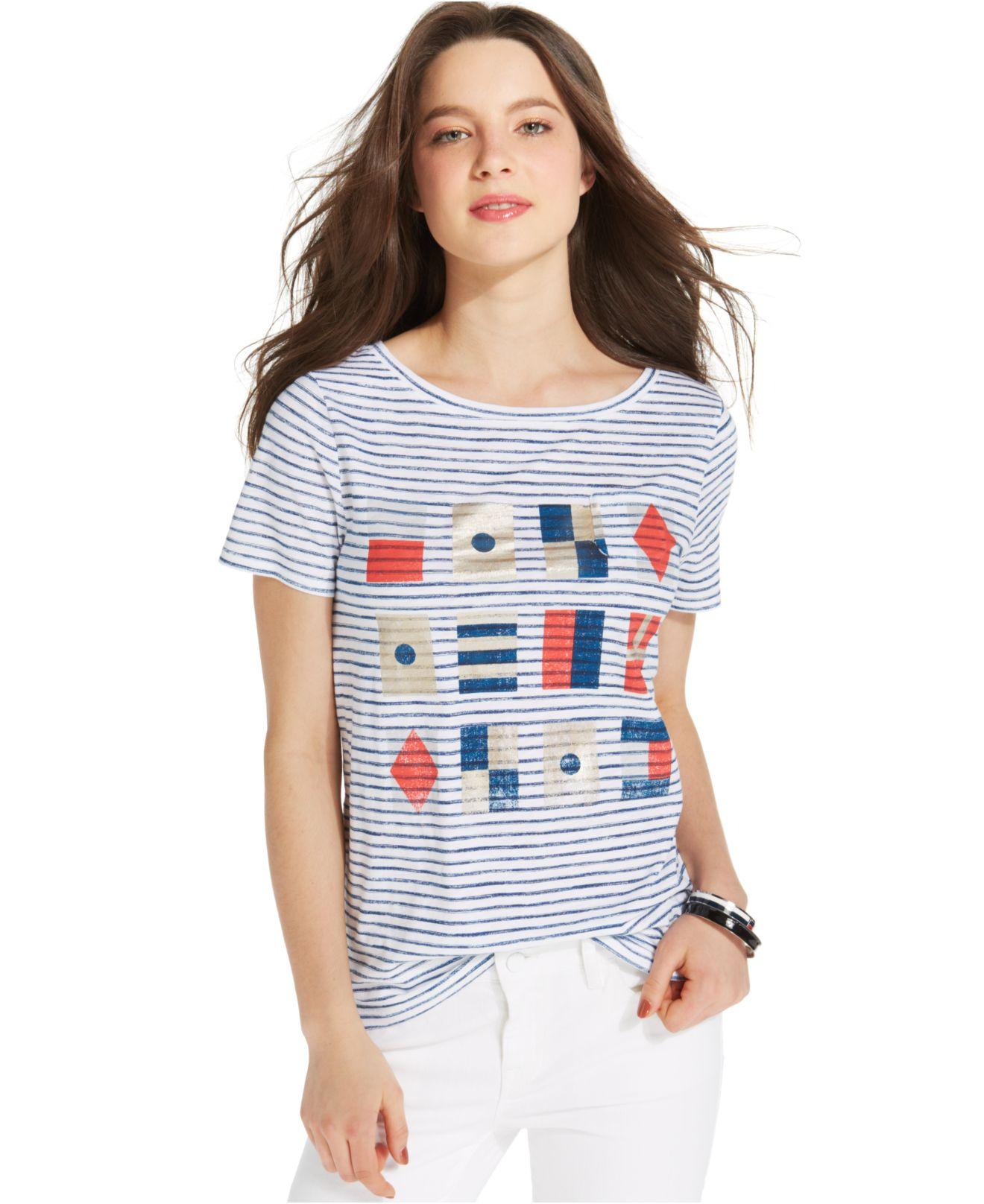 017106b2dd1f9 Lyst - Tommy Hilfiger Boat-Neck Flag Stripe Tee in White