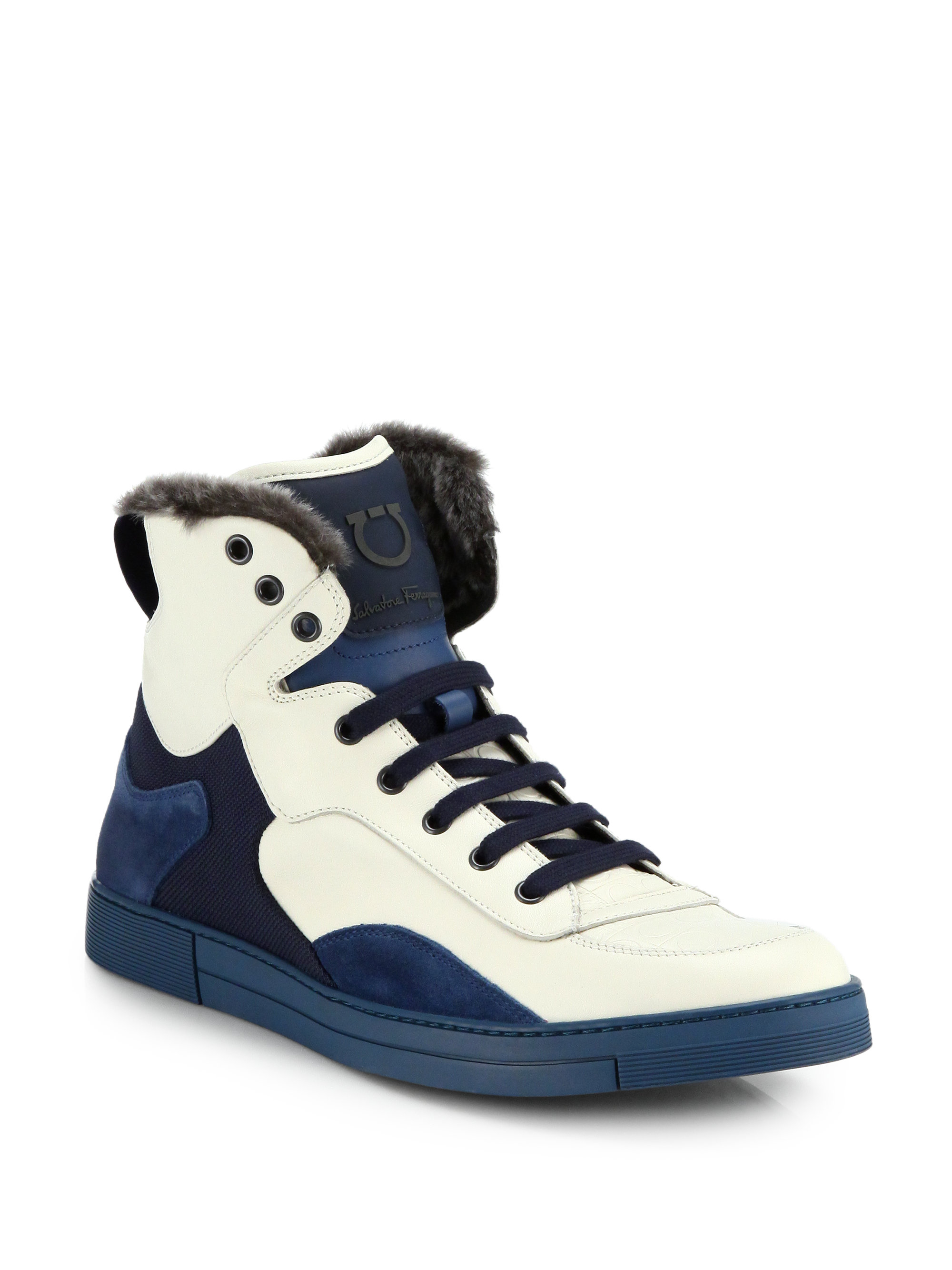 ferragamo suede leather shearling hightop sneakers in blue