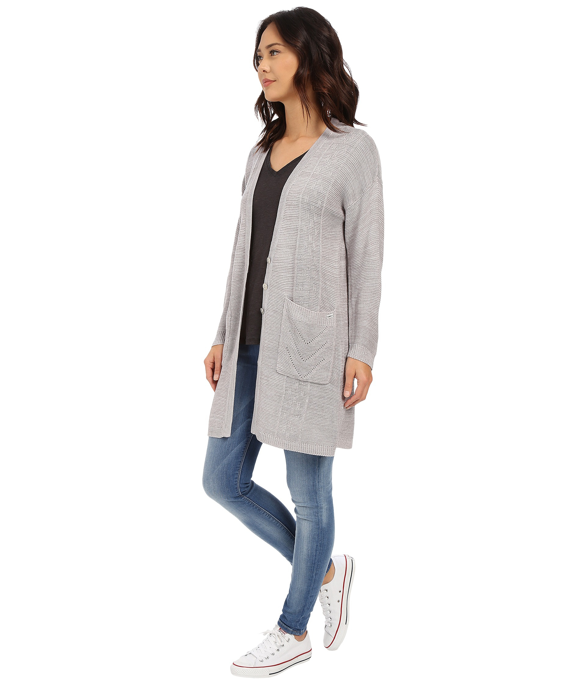 Obey Duster Cardigan in Gray | Lyst