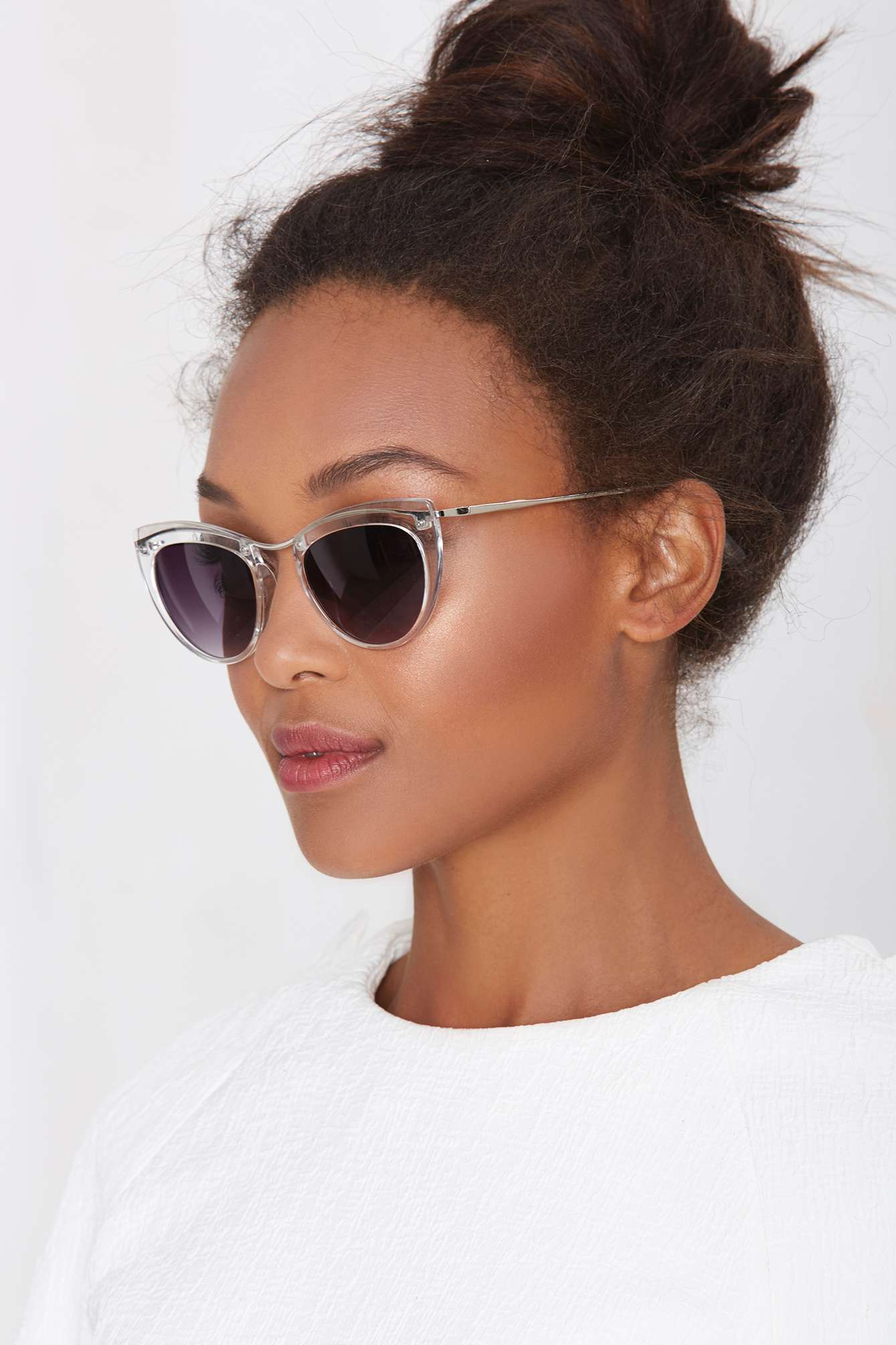 Lyst Nasty Gal Let S Be Clear Cat Eye Shades In Metallic