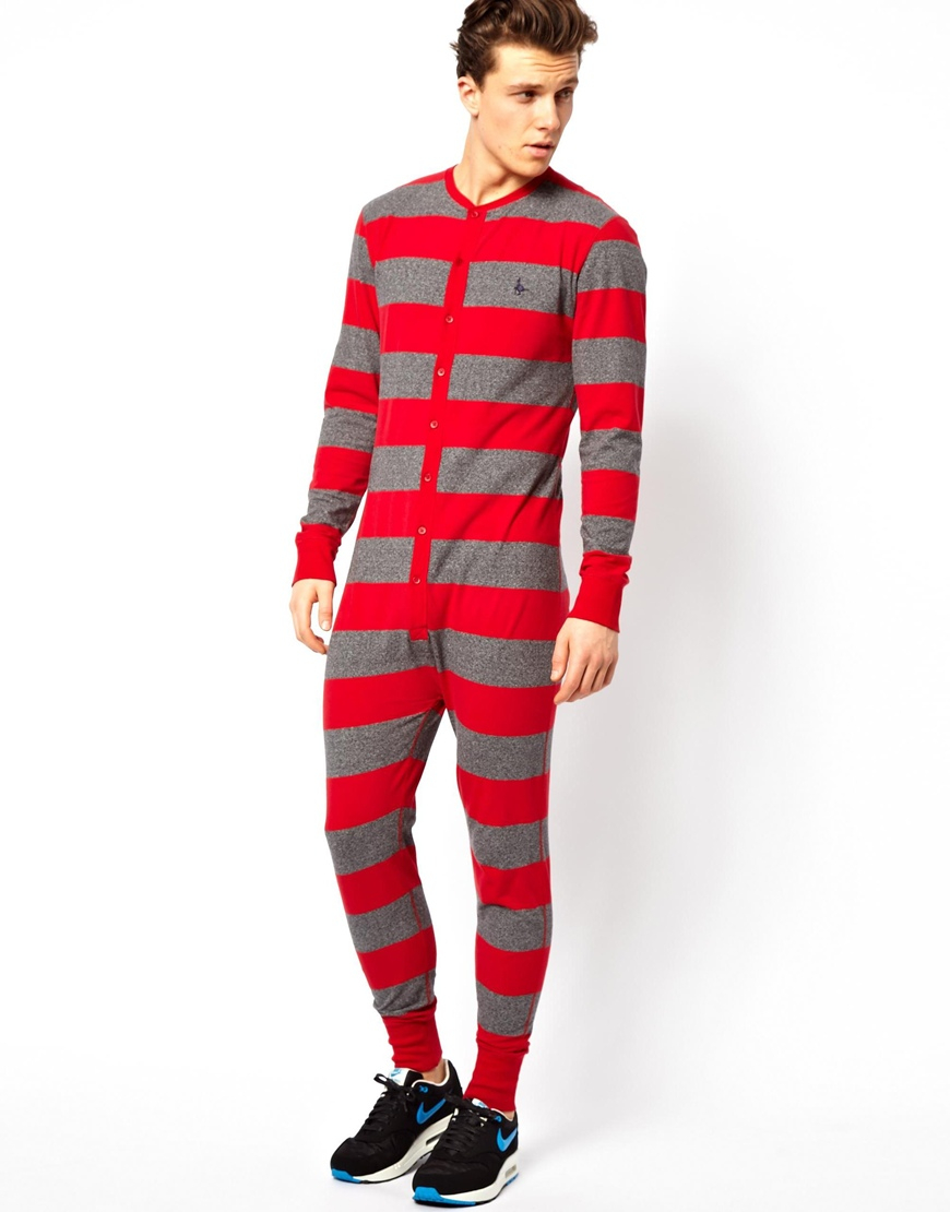 Lyst jack wills bolberry striped onesie in red for men for Mens dress shirt onesie