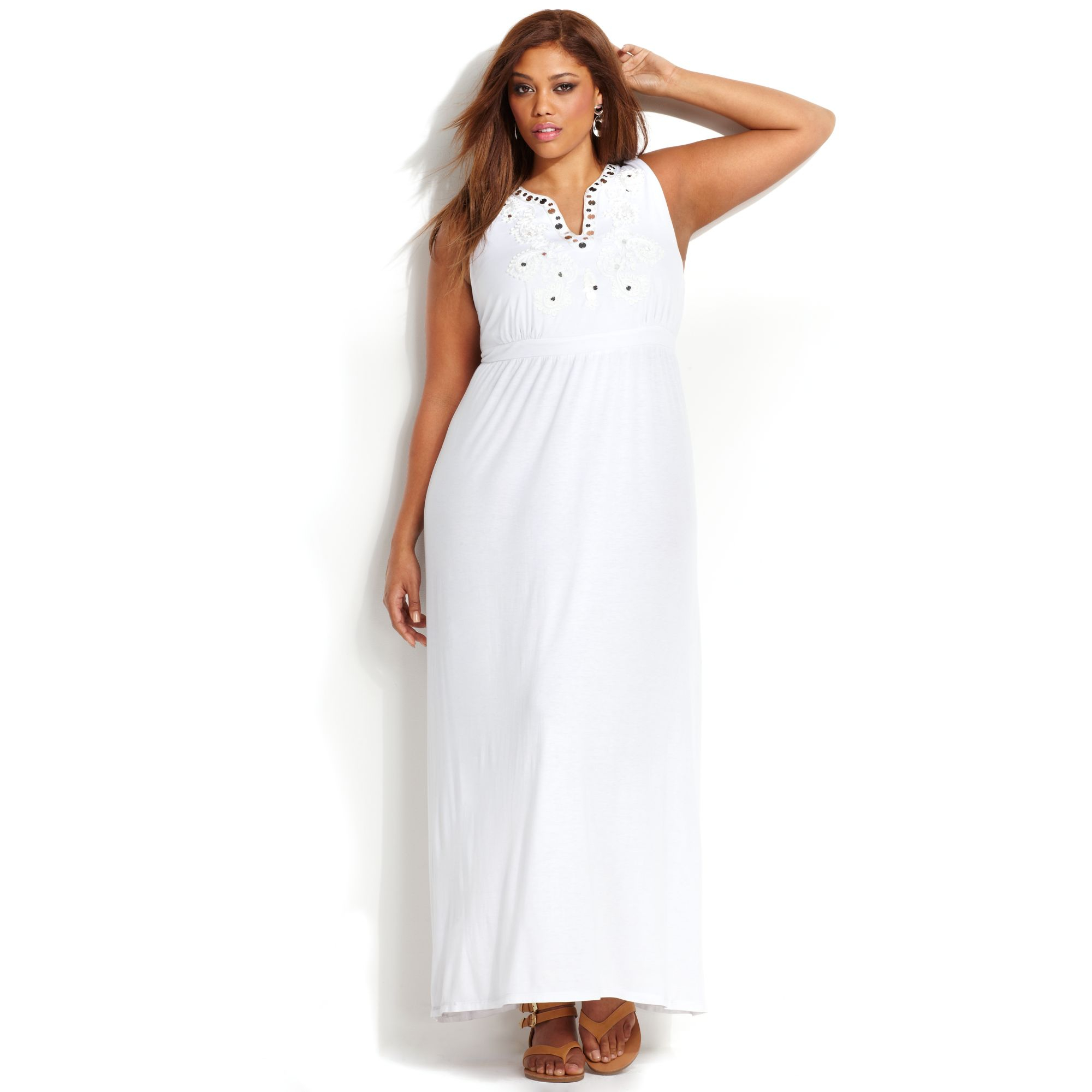 INC International Concepts Plus Size Embroidered Maxi Dress in White ...