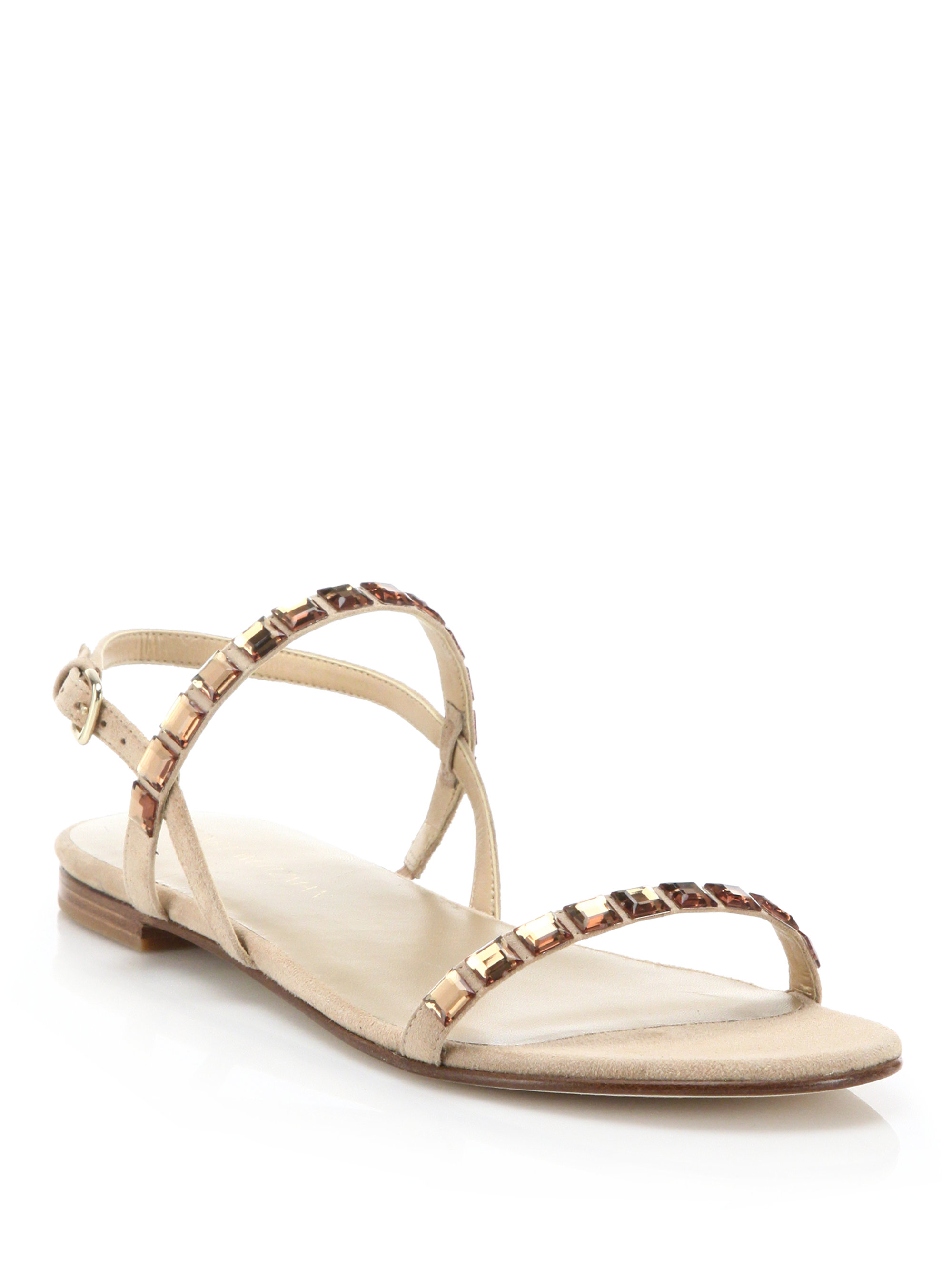 Lyst Stuart Weitzman Trailmix Jeweled Suede Flat Sandals