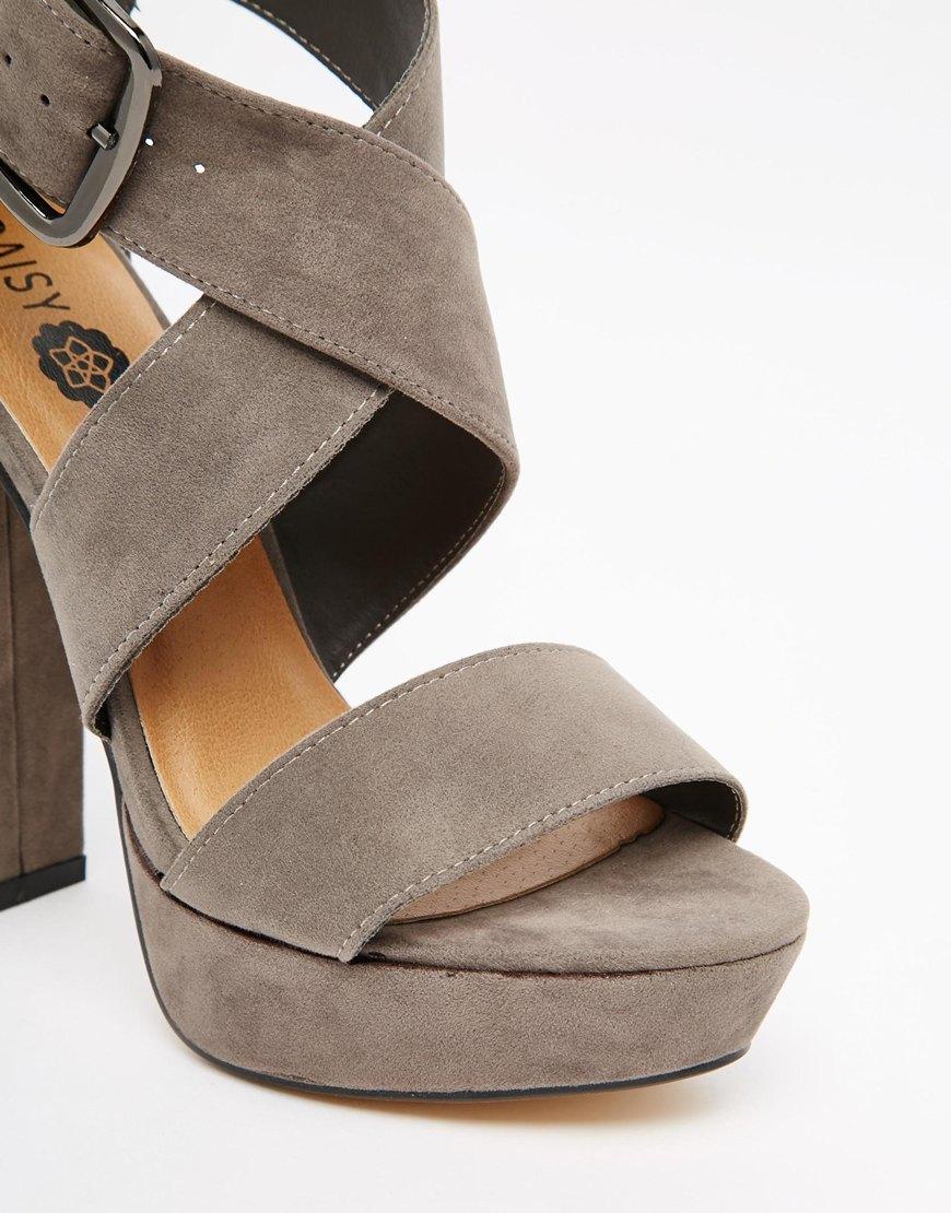 ca9b58152b00 Lyst - Daisy Street Cross Over Platform Heeled Sandals in Gray