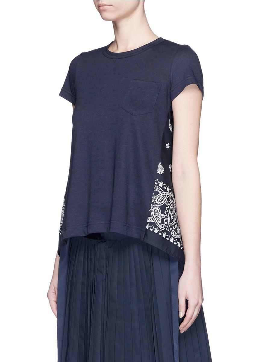 sacai split back bandana print t shirt in blue lyst