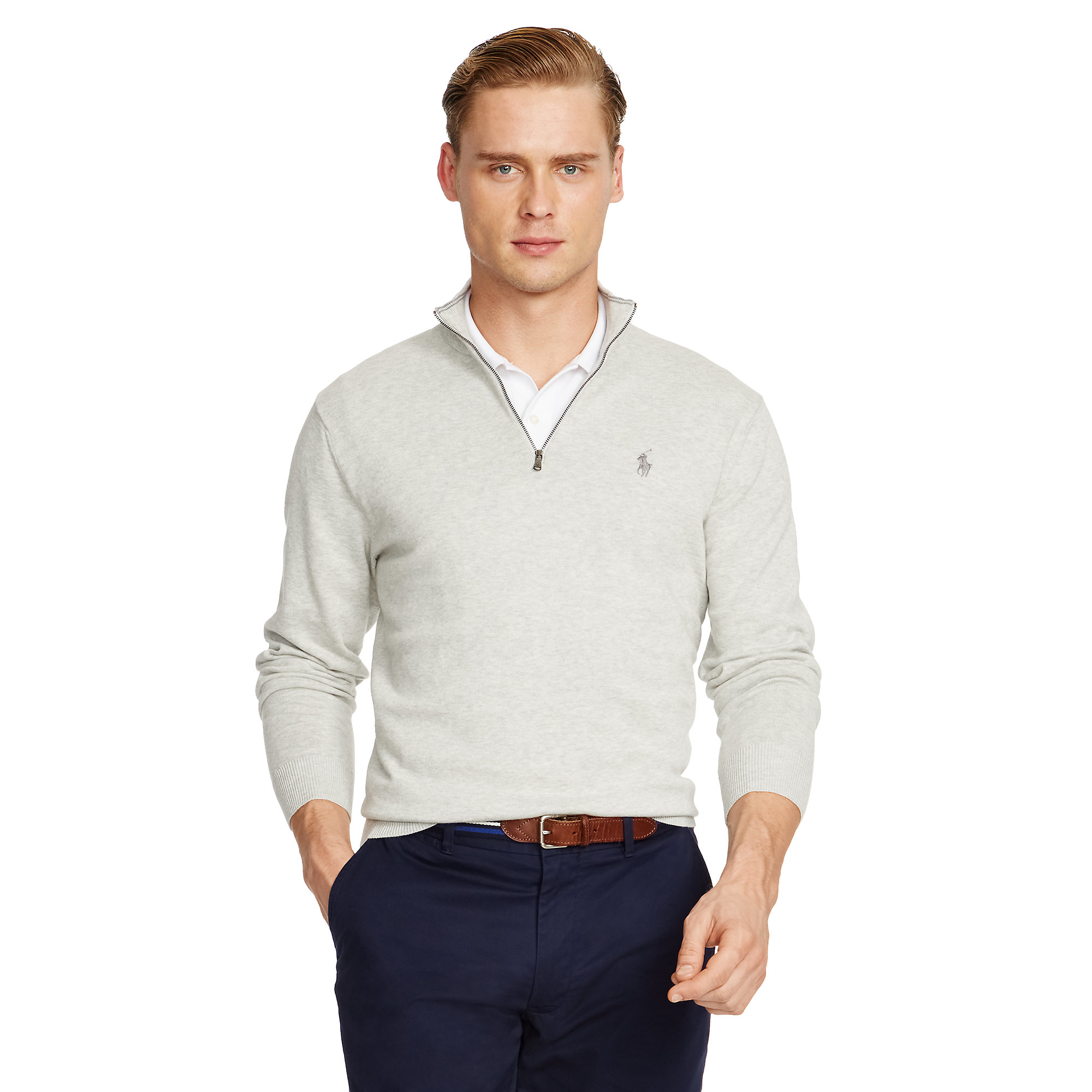 Pink pony Pima Cotton Half-zip Sweater in Gray for Men | Lyst
