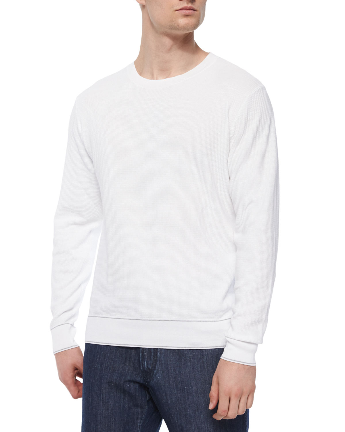 2bfc7ef7fc45 Brioni Small Waffle-knit Crewneck Sweater in White for Men - Lyst
