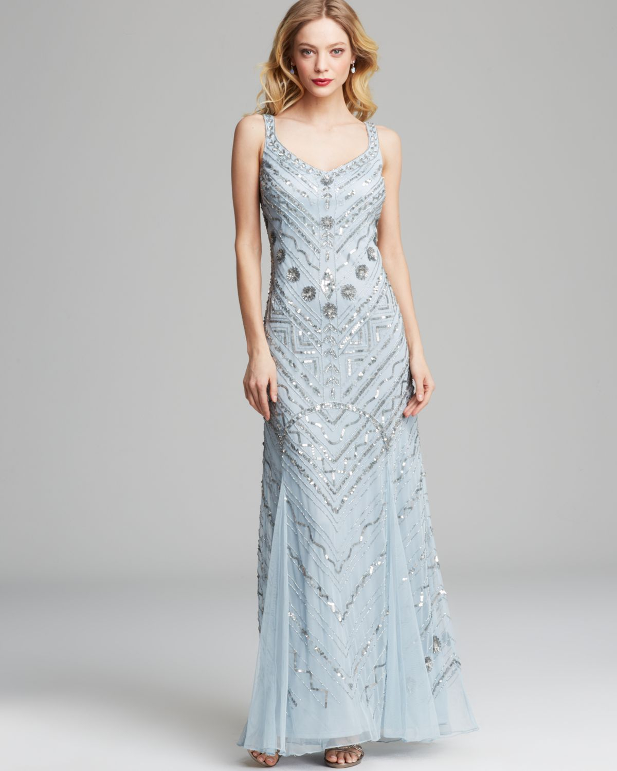 Aidan mattox Gown Sleeveless Sequin in Blue | Lyst