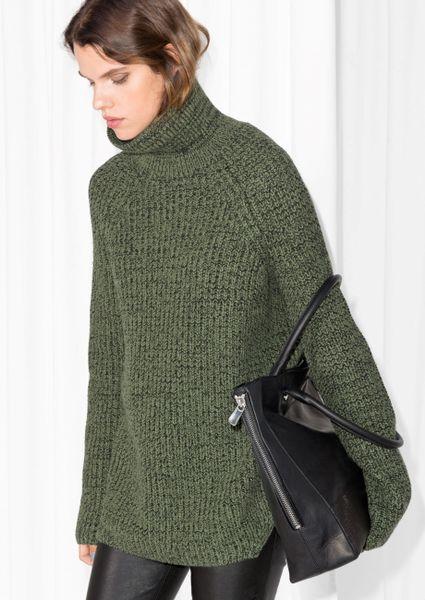 Amp Other Stories Turtleneck Sweater In Green Dark Green