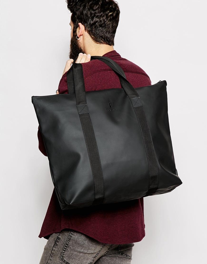 Lyst - Rains Large Tote Bag in Black 293d51c02e7d5