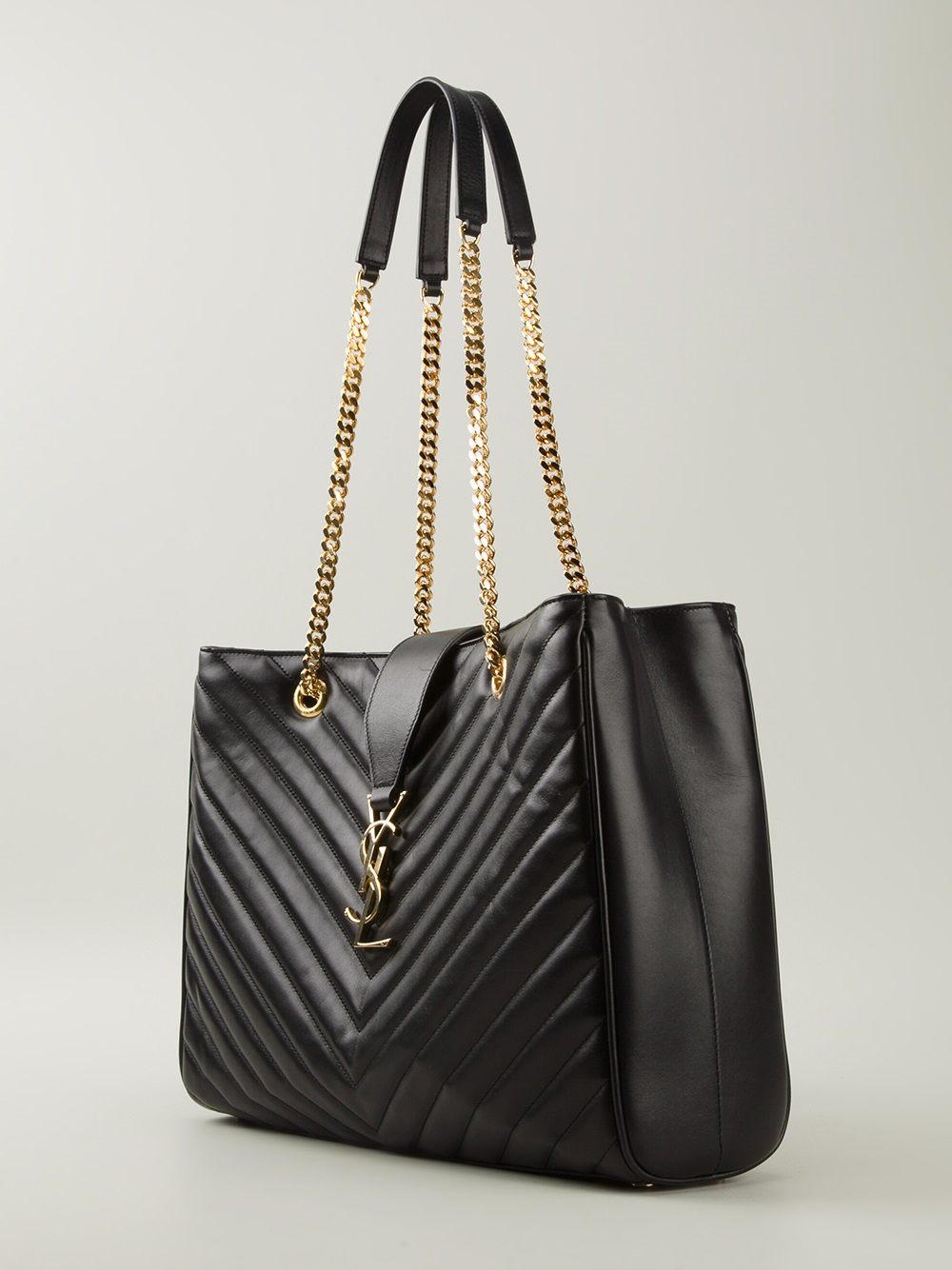 eea767a87f7c Lyst - Saint Laurent Small Quilted Tote Bag in Black