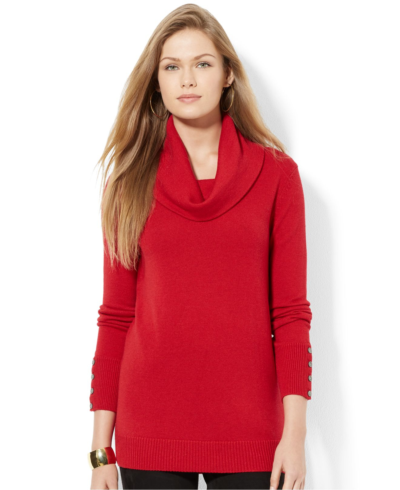Lauren by ralph lauren Cowl-Neck Button-Cuff Sweater in Red | Lyst