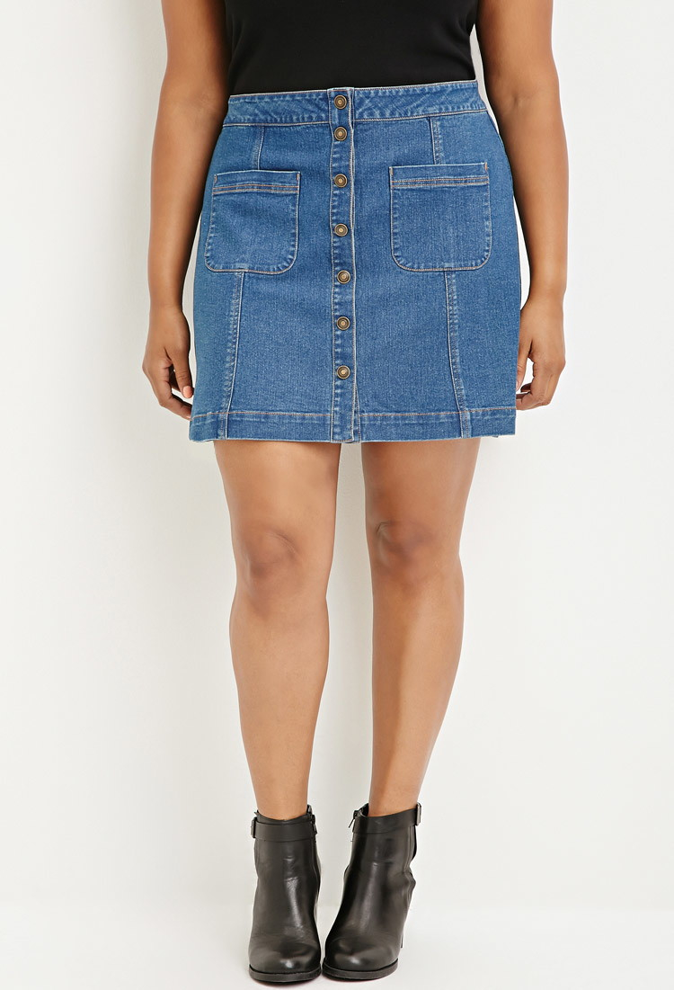 2e1ed1bdb15 Forever 21 Plus Size Button-down Denim Skirt in Blue - Lyst
