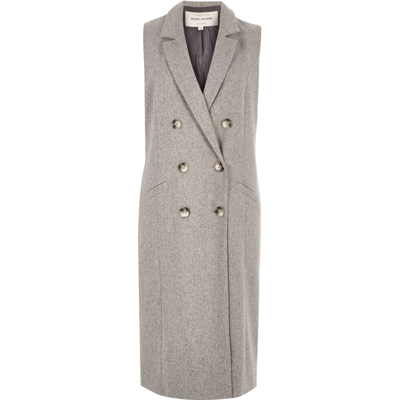 b24627e999 River Island Light Grey Sleeveless Coat in Gray - Lyst