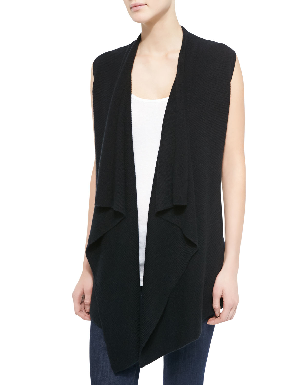 Vince Long Draped Sweater Vest in Gray | Lyst