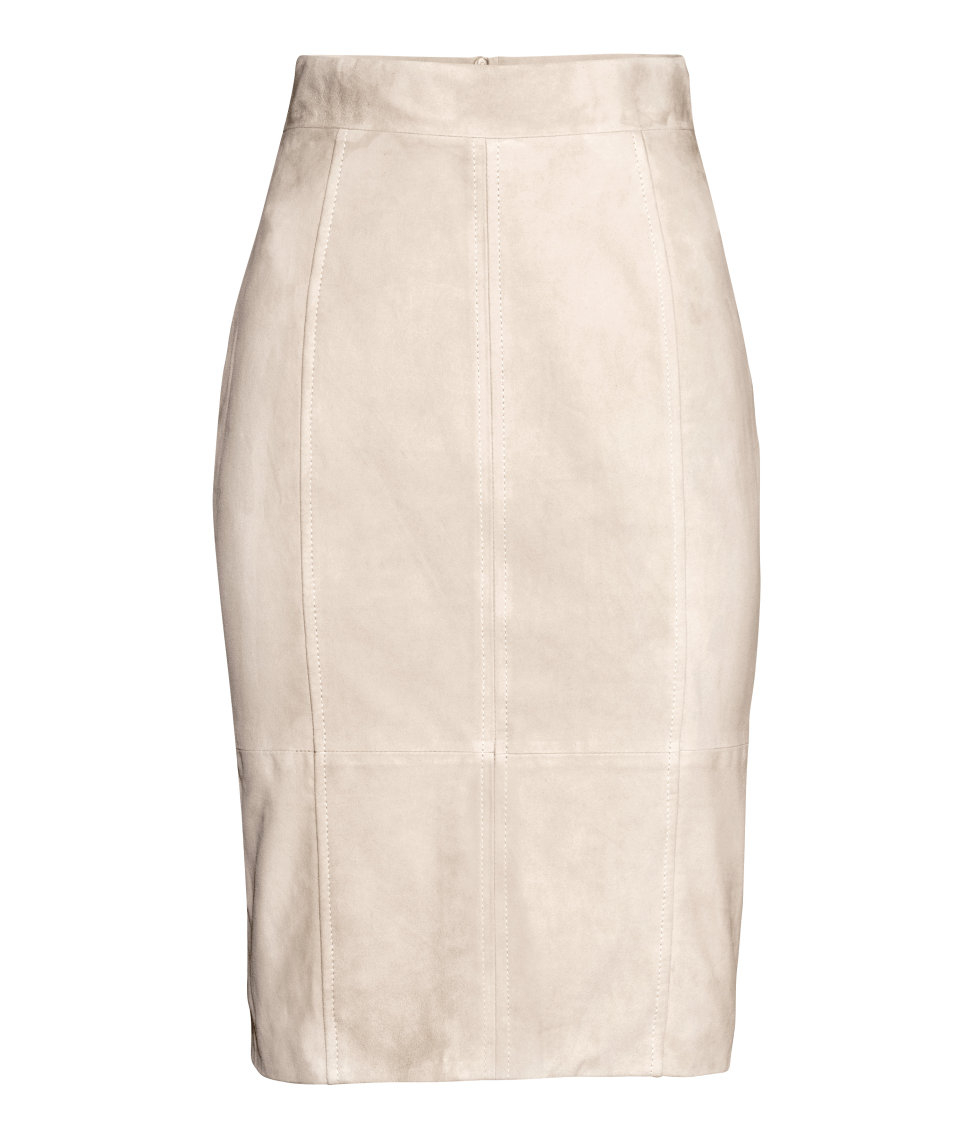 h m suede pencil skirt in lyst