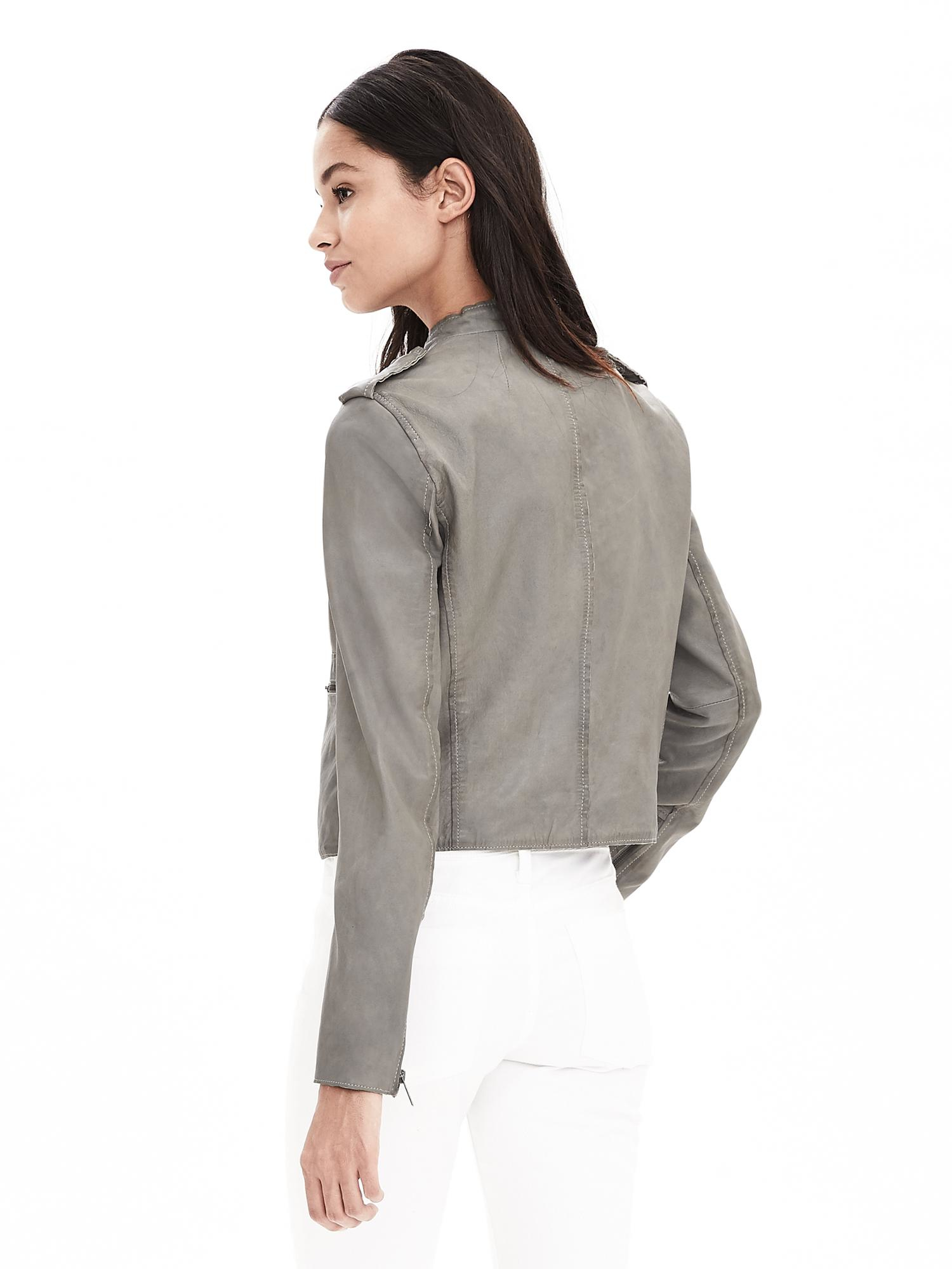Lyst Banana Republic Gray Leather Moto Jacket In Gray
