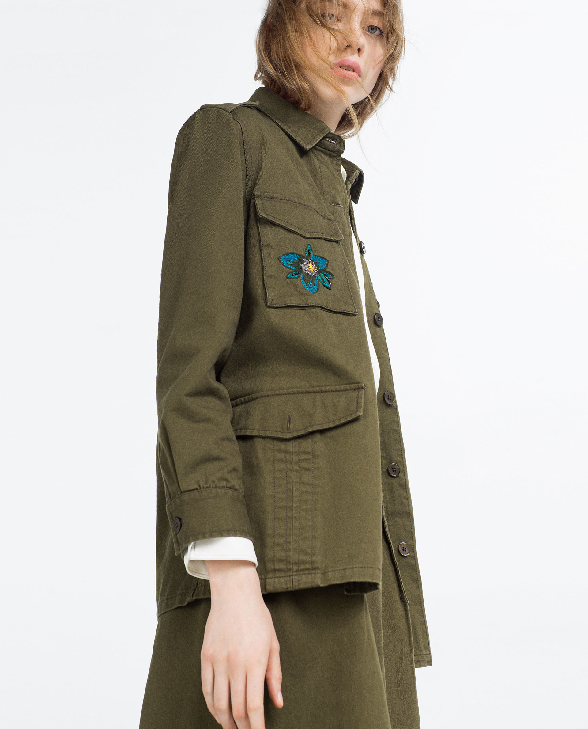 Zara embroidered jacket in natural lyst