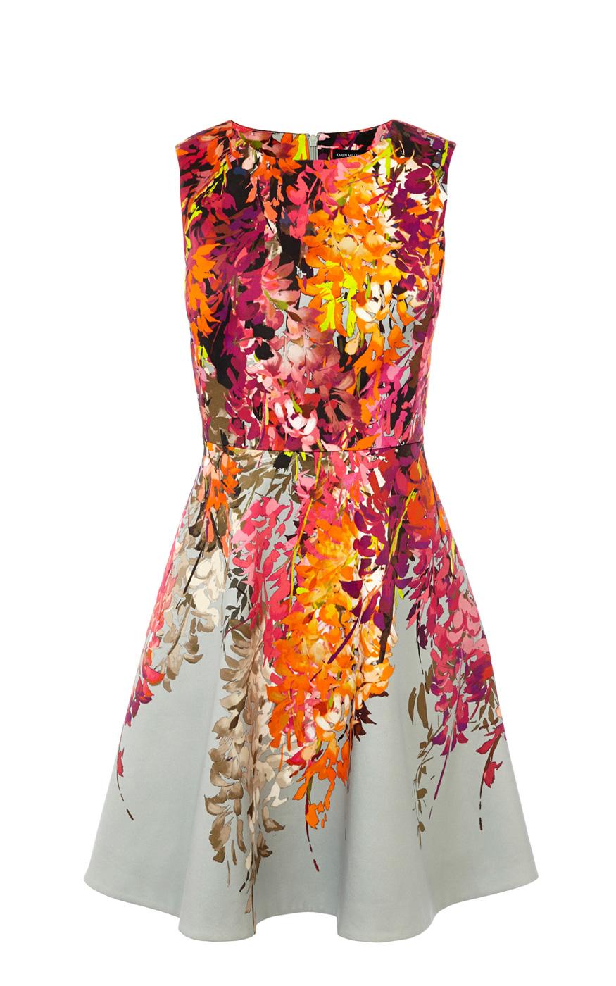 Karen Millen Oriental Floral Print Fit And Flare Dress In