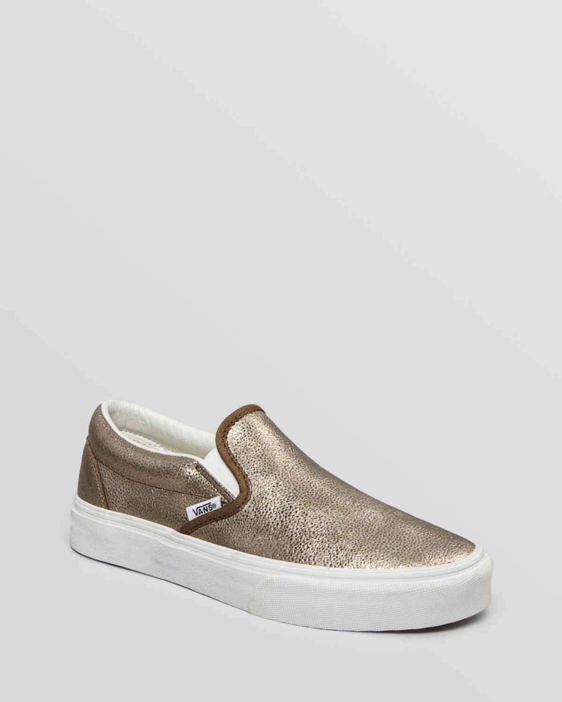 b4d6fd51f7 Lyst - Vans Unisex Flat Slip On Sneakers - Classic Metallic in Metallic