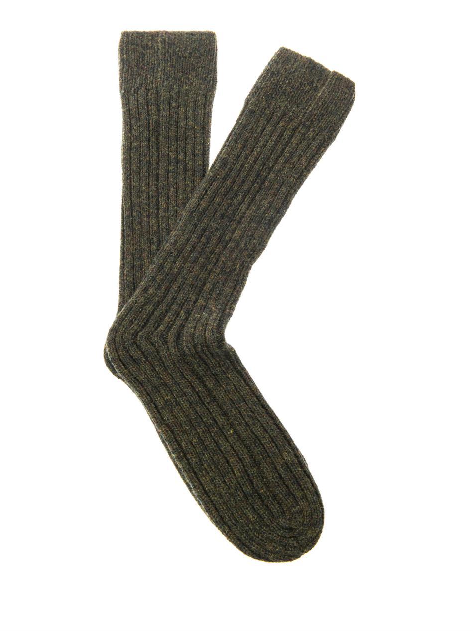 Knitting Chunky Socks : Lyst cerruti runway chunky knit wool socks in green