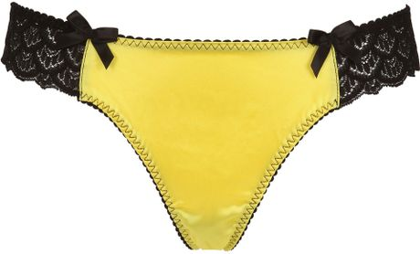 Bordelle Silk Satin Viscose Lace Thong in Yellow (yellow/black)