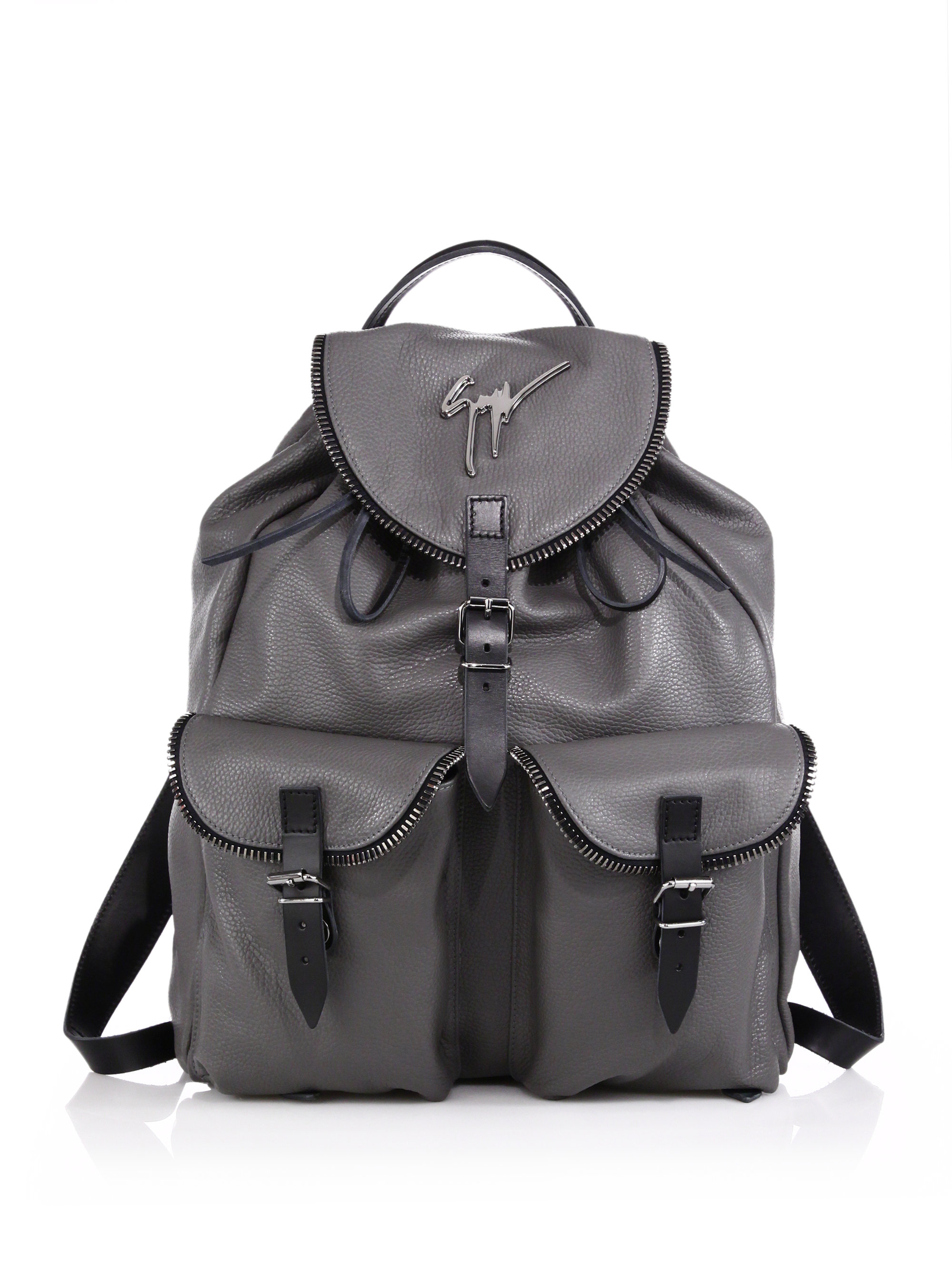 fd634bc0e16f9 Giuseppe Zanotti Zipper-trim Leather Backpack in Gray for Men - Lyst
