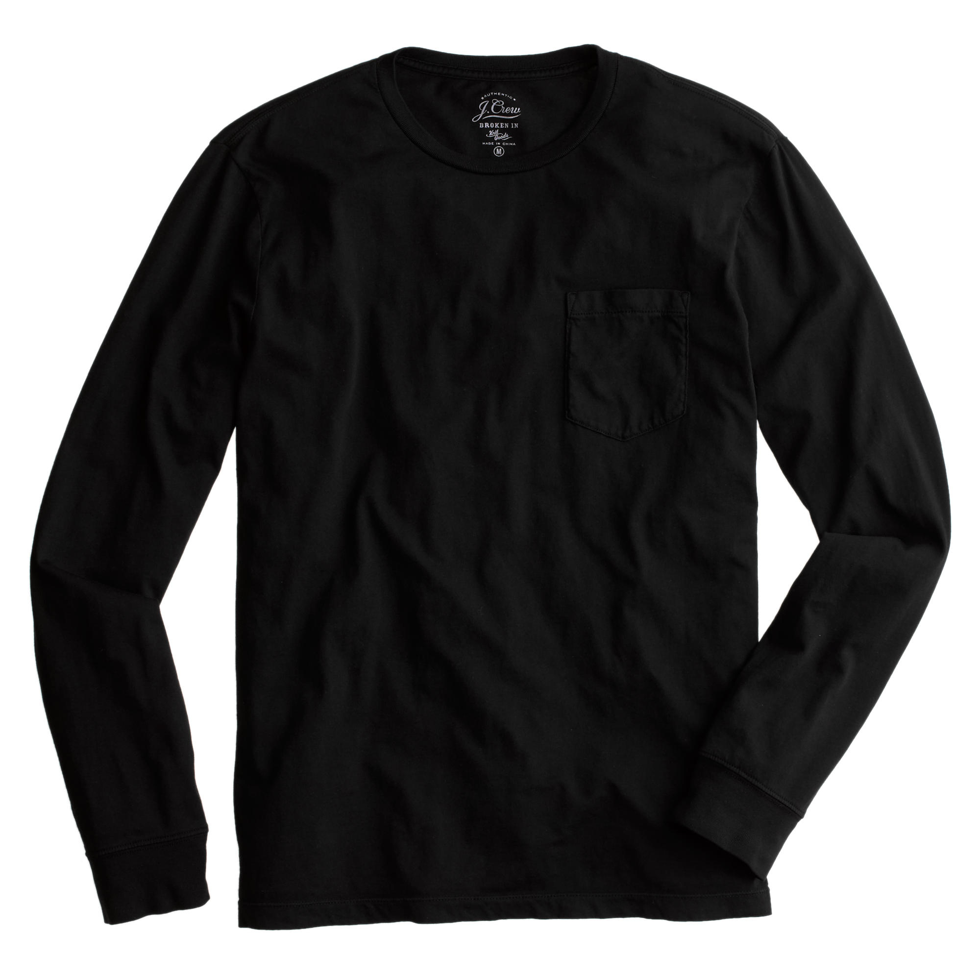 Tall broken in long sleeve pocket t shirt in black for Mens long sleeve t shirts tall