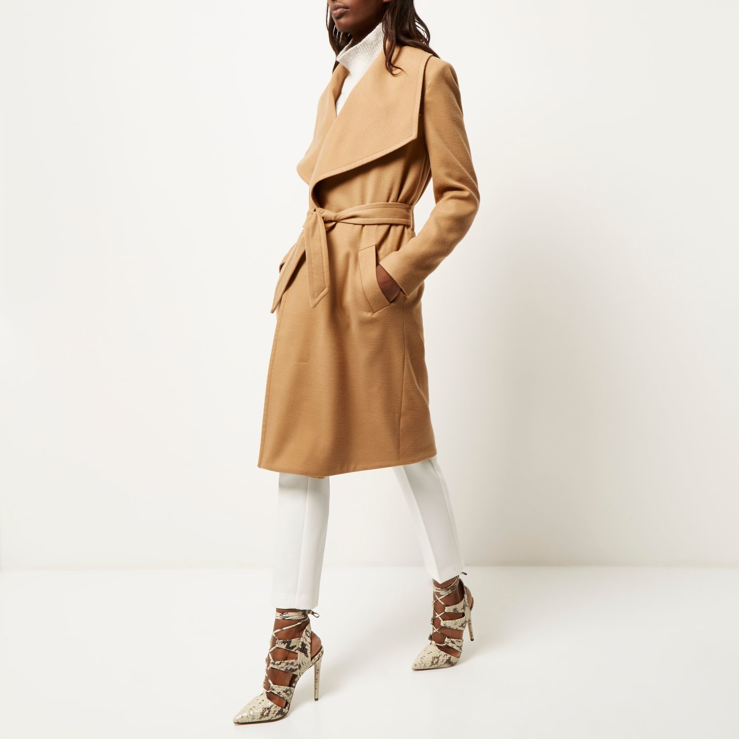 River Island Camel Belted Robe Coat In Natural Lyst